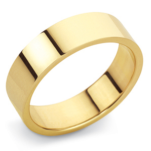 Flat Court 6mm Yellow Gold Wedding Ring Image 1