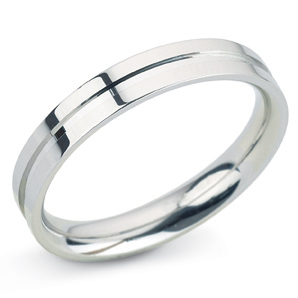 Grooved 4mm White Gold Wedding Ring Main Image