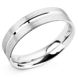 Grooved 5mm Platinum Wedding Ring Main Image