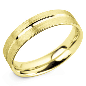 Grooved 5mm Yellow Gold Wedding Ring Main Image