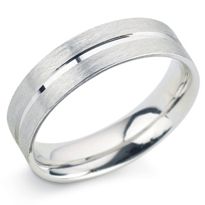 Grooved 6mm Platinum Wedding Ring Main Image