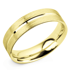 Grooved 6mm Yellow Gold Wedding Ring Main Image